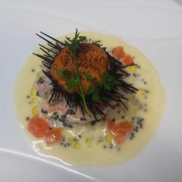 甘鯛のヴァポーレと蝦夷ウニの半熟グラタン